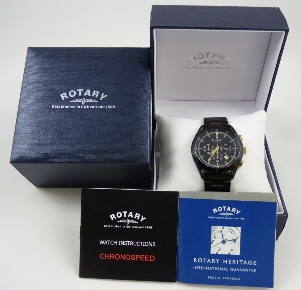 Rotary Gents Ion Plated Gold Detail Watch